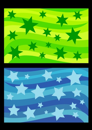 abstracts: Stars on colorful waves - set of background abstracts. Color illustration.