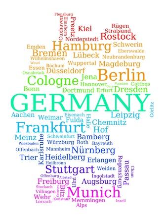 뮌헨: 독일의지도 - 도시 이름을 만든 다채로운 개요. 독일어 개념입니다. 일러스트