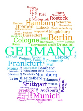 frankfurt: Map of Germany - colorful outline made of city names. German concept. Illustration