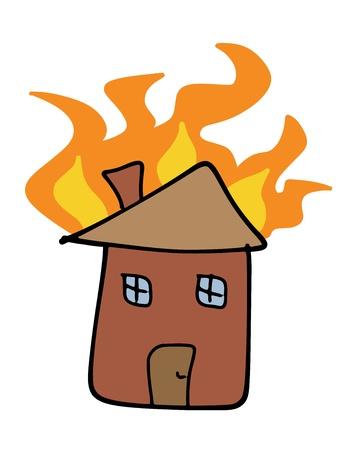 incendio casa: Casa fuego doodle. Tr�gico desastre - el concepto de reclamaci�n de seguros. Los ni�os como simple ilustraci�n.