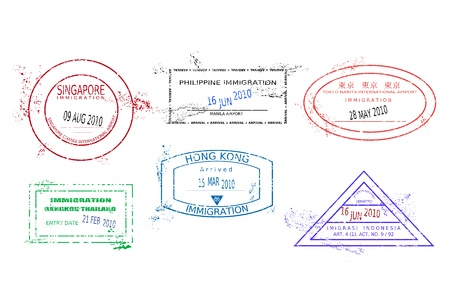 Passport stamps from Asia. Grungy stained passport page with scalable grunge stamps (not real). Asia destinations: Bangkok (Thailand), Hong Kong, Jakarta (Indonesia), Tokyo (Japan), Singapore, Manila (Philippines). Vector