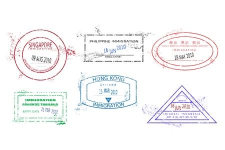 manila: Timbri sui passaporti dall'Asia. Grungy pagina del passaporto con timbri colorati grunge scalabile (non reale). Destinazioni in Asia: Bangkok (Thailandia), Hong Kong, Jakarta (Indonesia), Tokyo (Giappone), Singapore, Manila (Filippine).
