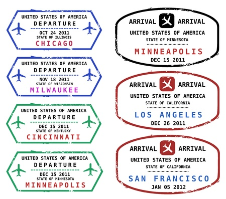 stempel reisepass: Reisen Sie Briefmarken aus den USA. Grungy skalierbare Briefmarken (nicht wirklich). USA-Reiseziele: Chicago, Milwaukee, Cincinnati, Minneapolis, Los Angeles und San Francisco. Illustration