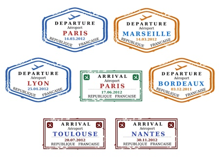 visa: Travel stamps from France. Grungy scalable stamps (not real). French destinations: Paris, Marseille, Lyon, Bordeaux, Toulouse and Nantes. Illustration