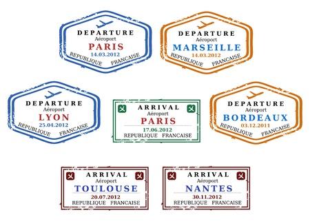 Viajar sellos de Francia. Grungy escalables sellos (no reales). Francés destinos: París, Marsella, Lyon, Burdeos, Toulouse y Nantes.