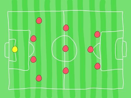 Fußballplatz - kritzeleien. Fußball-Taktik und Strategie - beliebte 4-3-3 Teambildung.