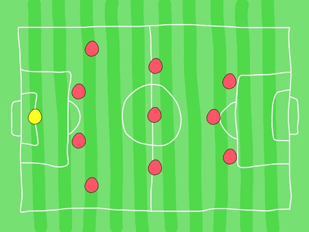 tactics: Soccer field - doodle drawing. Football tactics and strategy - popular 4-3-3 team formation.