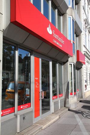 santander: VIENNA - SEPTEMBER 6: Santander Bank branch on September 6, 2011 in Vienna. Santander Bank is the largest in Eurozone according to Financial Times Global 500.