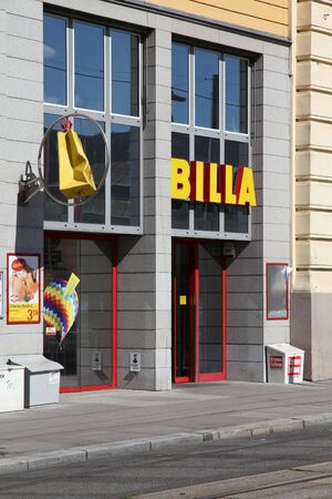 VIENNA - SEPTEMBER 6: Billa store on September 6, 2011 in Vienna. Now part of REWE Group, Billa was founded in 1953. With more than 1000 stores it is the largest supermarket chain in Austria. Stock Photo - 10592094