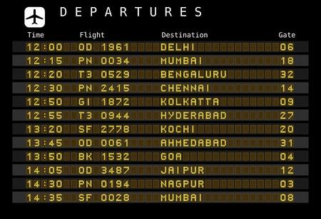 cronograma: Bordo de la salida - los aeropuertos de destino. Ilustraci�n del vector - las letras y n�meros para una f�cil edici�n sus propios mensajes est�n incrustados fuera del �rea de visualizaci�n. India Destinos: Delhi, Mumbai, Bangalore, Chennai, Koltatta y otras ciudades. Vectores