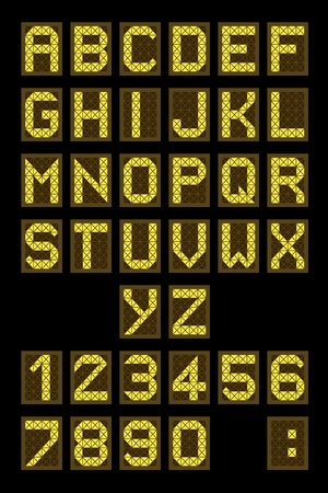 Font - letters and numbers imitating a digital display board. Usable for airport schedules, train timetables etc. Vector