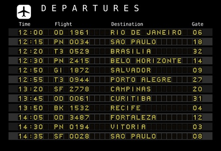brasilia: Departure board - destination airports - the letters and numbers for easy editing your own messages are embedded outside the viewing area. Brazil destinations: Rio de Janeiro, Sao Paulo, Brasilia, Salvador, Porto Alegre and other cities.