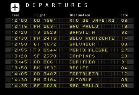 cronograma: Junta salida - aeropuertos de destino - se incrustan las letras y n�meros para f�cil editar sus propios mensajes fuera del �rea de visualizaci�n. Destinos de Brasil: Rio de Janeiro, Sao Paulo, Brasilia, Salvador, Porto Alegre y otras ciudades.