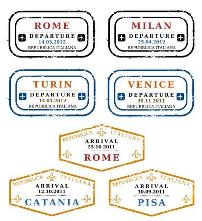 stempel reisepass: Travel Briefmarken aus Italien. Grungy skalierbare Stempeln (und nicht real). Italienischen Destinationen: Rom, Mailand, Turin, Venedig, Catania und Pisa.