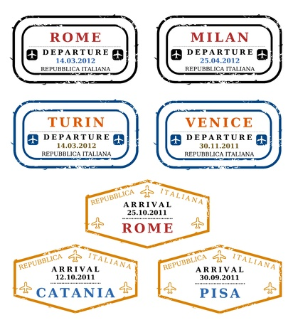 passport stamp: Travel stamps from Italy. Grungy scalable stamps (not real). Italian destinations: Rome, Milan, Turin, Venice, Catania and Pisa. Illustration