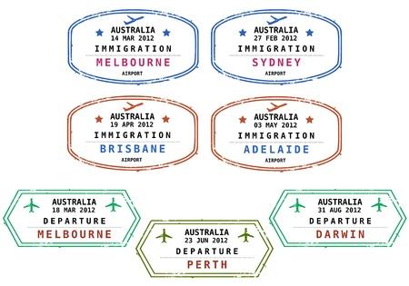 stempel reisepass: Briefmarken aus Australien zu reisen. Grungy skalierbare Briefmarken (nicht wirklich). Australien: Melbourne, Sydney, Brisbane, Adelaide, Perth und Darwin.