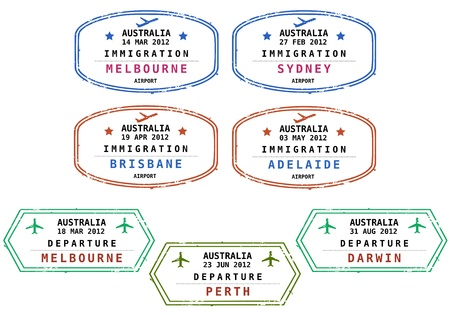 Travel stamps from Australia. Grungy scalable stamps (not real). Australian destinations: Melbourne, Sydney, Brisbane, Adelaide, Perth and Darwin.