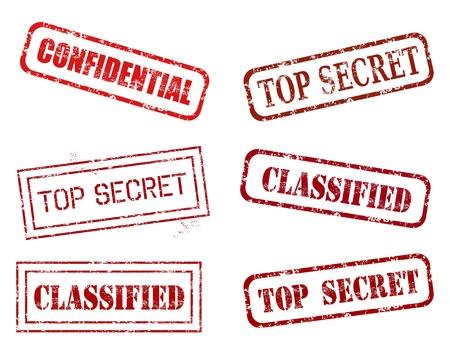 Rode rubber stempel set - grungy illustratie met de overheid geheim stempelen. Vertrouwelijk, geheime informatie.