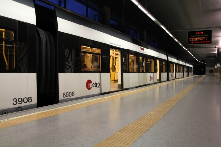 valencia: VALENCIA - OCTOBER 10: Metro train on October 10, 2010 in Valencia, Spain. With 175km total network length, Metrovalencia is 15th longest subway system worldwide.