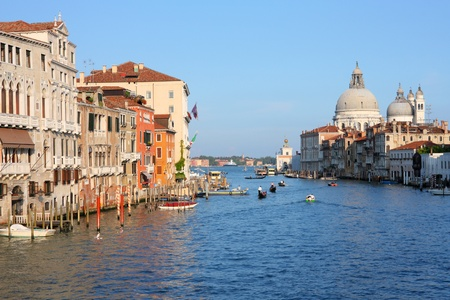 Venice, Italy - old town cityscape with famous Grand Canal. UNESCO World Heritage Site. photo