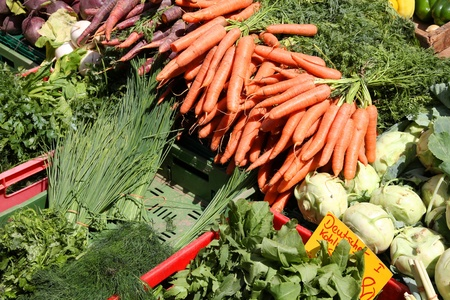 Vegetable stand at a marketplace in Mainz, Germany. Farmers market. Stock Photo - 10686809