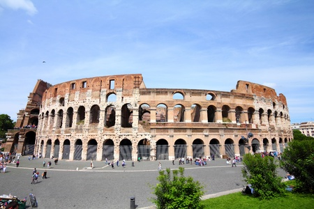 Rome, Italy. Famous Colosseum, Flavian Amphitheatre. Ancient landmark. photo