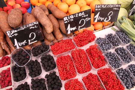 Fruit and vegetable stand at a marketplace in Vienna, Austria. Farmers market. Stock Photo - 10725405