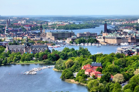 sweden: Stockholm, Sweden. Aerial view of famous Gamla Stan (the Old Town) and other islands, canals, landmarks.