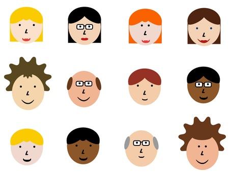 Conjunto de iconos de cara - gente diversa y grupo de cara las emociones. Ilustración de elemento de diseño - colección simple jefes.