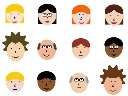 Face icon set - group of face emotions and diverse people group. Design element illustration - simple heads collection. Vector
