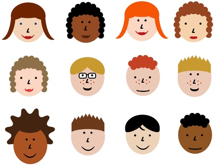 moods: Face icon set - group of face emotions and diverse people group. Design element illustration - simple heads collection. Illustration