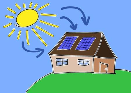 toiture maison: Dessin Doodle - notion d'�nergie solaire. Puissance dim. renouvelables avec des cellules photovolta�ques sur le toit maison.