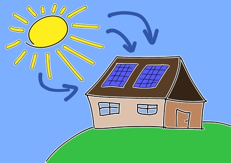Doodle drawing - solar energy concept. Renewable sun power with photovoltaic cells on house roof. Vector
