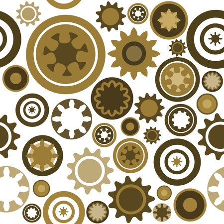 clockwork: Industry pattern - seamless machinery gear texture. Abstract illustration with cogwheels and mechanical parts. Illustration