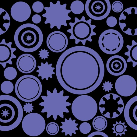 Industrial pattern - seamless machinery gear texture. Abstract illustration with cogwheels and mechanical parts. Vector