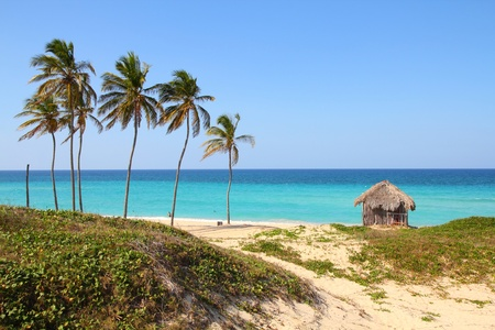 hut: Cuba - Caribbean beach Playa Megano in Playas del Este part of Havana Province. Sandy coast.