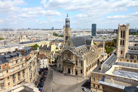 mont: Paris, France - aerial city view with Saint Etienne du Mont church Stock Photo