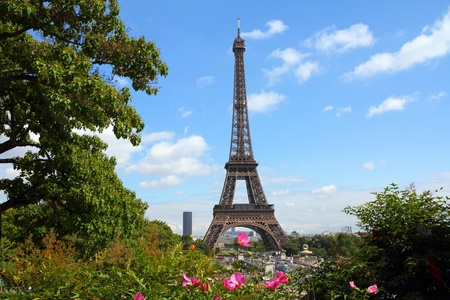 trocadero: Paris, France - cityscape with Trocadero gardens and Eiffel Tower. Stock Photo