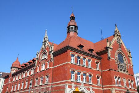 Katowice, Poland - high school building, old landmark Publikacyjne