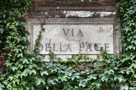 Via della Pace - street sign in Rome, Italy Stock Photo - 10807621