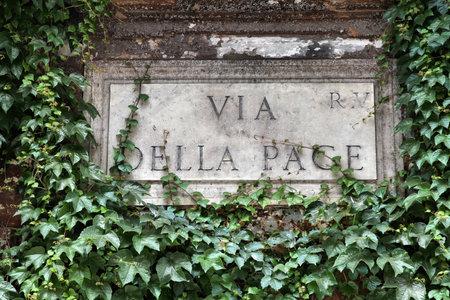 Via della Pace - street sign in Rome, Italy