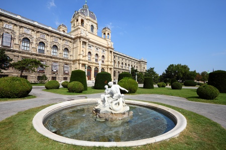 natural history museum: Vienna, Austria - fountain in front of Natural History Museum. The Old Town is a UNESCO World Heritage Site. Editorial