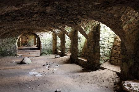 dungeons: Krzyztopor castle in Poland. Mysterious cellars of old landmark. Editorial