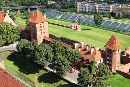 Malbork castle in Pomerania region of Poland. UNESCO World Heritage Site. Teutonic Knights fortress also known as Marienburg.