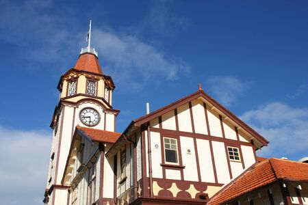 australasia: Rotorua town hall. Old architecture in New Zealand.
