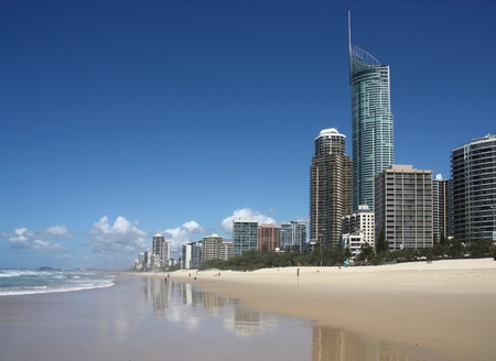 Gold Coast City in Queensland, Australia. Pacific Ocean waterfront. Beach cityscape with famous Q1 skyscraper. photo