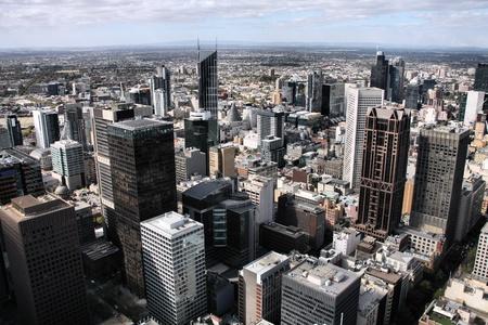aerial views: Melbourne, Australia. Aerial view of skyscraper city. Central business district (CBD).
