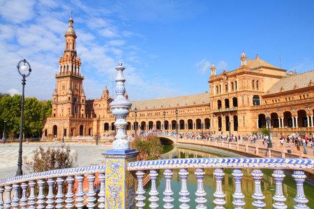 sevilla: Beroemde Plaza de Espana, Sevilla, Spanje. Oude landmark.