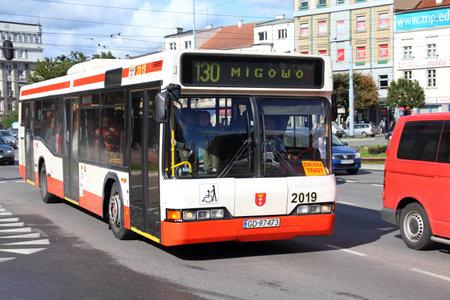 GDANSK, POLAND - SEPTEMBER 2: Neoplan bus on September 2, 2010 in Gdansk, Poland. Founded in 1935, Neoplan is one of largest bus manufacturers worldwide. Zdjęcie Seryjne - 10887726