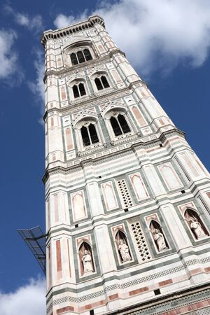Famous Giottos Campanile - bell tower of Florence cathedral. Architecture in Italy. UNESCO World Heritage Site.